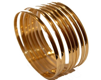 Week Bracelet Semanario Cuff Bangle 18k Gold Plated 2 5/8 inch X 4mm