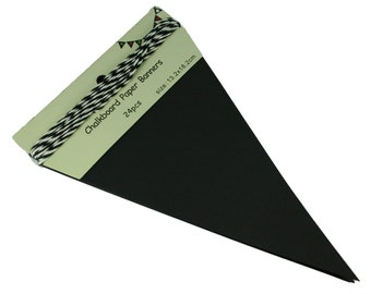 "24-Piece Pennant DIY Chalkboard Triangle Banner 5.25"" by 8"" with String"