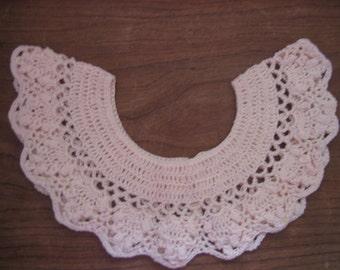 Hand crocheted ecru collar   FREE SHIPPING
