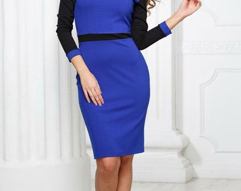 Cobalt Blue Peter Pan collar  Royal blue knee dress Contrast jersey clothes Business Casual Dress Office Spring Autumn