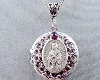 Patron Saint of Victims of Rape Victims Teenage Girls St Maria Goretti Locket St Maria Goretti Necklace Birthstone Locket Gift Box