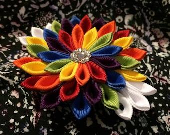 Kanzashi Style Rainbow Barrette