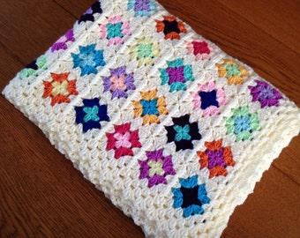 Crochet baby blanket mini granny squares multi colored and cream