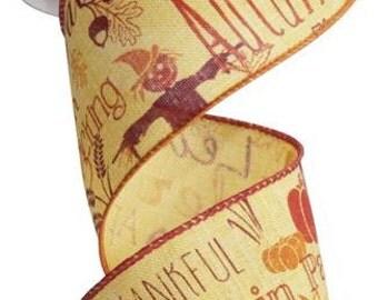 """2.5"""" Autumn Harvest Ribbon, Autumn Leaves Ribbon, Fall Ribbon (10 Yards) - RG1715T6"""
