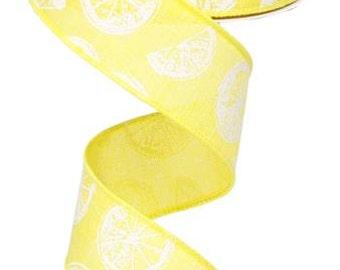 """1.5"""" Yellow Citrus Ribbon RG01272X7, Yellow White Lemon Slices Ribbon RG01272X7, Yellow Royal Ribbon (10 yards) -"""