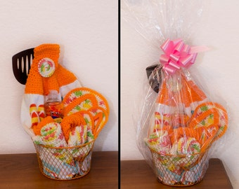 Crocheted Kitchen Gift Basket Set (Dishtowel, Dishclothes, Scrubbies, Potholder, Coasters,)