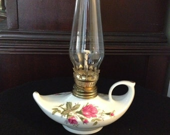 Vintage Small Moss Rose Aladdin Spirit Lamp with Clear Globe (GM274)