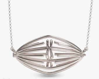 science jewelry: silver metaphase necklace - 3D printed genetics pendant - wearable mitosis - scientist - DNA - genes - cell