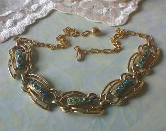 Vintage Rhinestone Necklace Aurora Borealis Rhinestones 1960s Jewelry