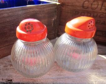 Vintage Salt and Pepper Shakers Hazel Atlas Ball Ribbed Glass Shakers