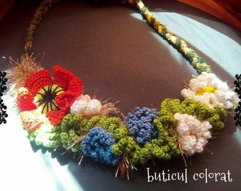 Statement necklace, crochet flowers, flowers belt, flowers crown, rustic flower necklace, boho, hippie crown,crochet poppy,daisy,cornflowers