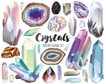 Crystal Clipart - Gems, Diamonds, Crystals & Stones Clip Art Set - 300 DPI Digital Download, Commercial Use, Digital Clipart