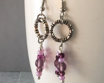 Purple earrings, purple dangle earrings, purple drop earrings, earrings purple