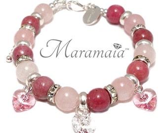 Rhodonite, Rose Quartz and Swarovski Hearts Sterling Silver Bracelet, Valentines Bracelet, Gifts for Her.