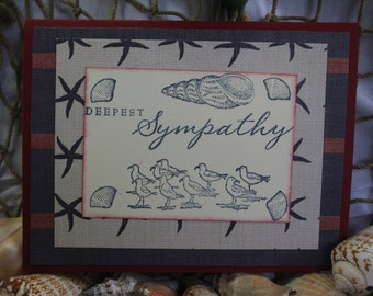 Handmade and hand stamped sympathy card/red, blue, and nautical/sea gulls/sea shells/blank inside
