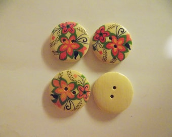 4 Large Peach and Pink Flower Buttons - #WS-00031
