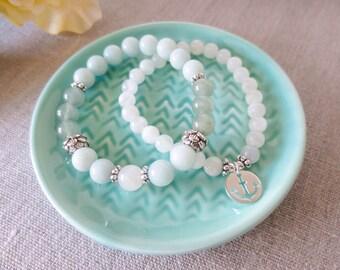 Amazonite, Aventurnine  & Moonstone Stretch Bracelet  + Anchor Moonstone Bracelet Set, Fertility Bracelet
