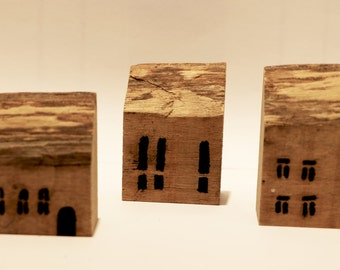 Small wood house, set of 3 small wooden houses for home decor, house for christmas decor, miniature wood house, little house, rustic design