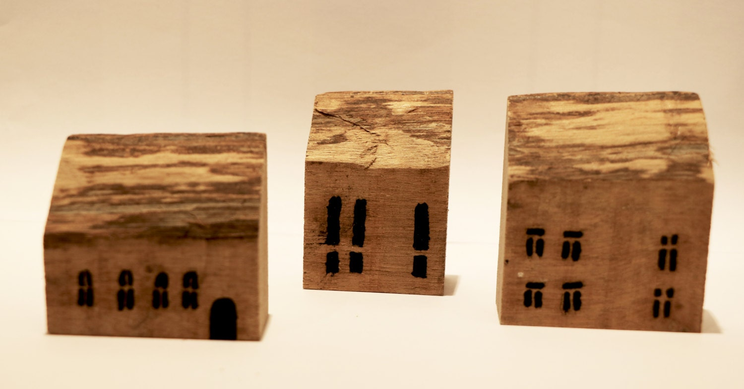Small wood house set of 3 small wooden houses for home decor for Wooden art home decorations