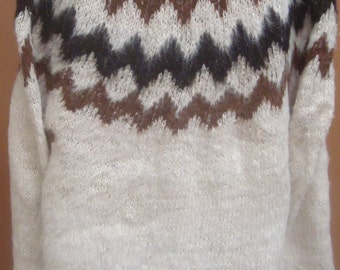 New, 100% Alpaca wool, hand knitted, sweater for man, men, rustic, andean, soft, warm, winter, andes, hand woven, one of a kind b