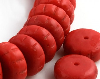 Vintage opaque cherry red fluted flat rondelle, 5x12mm Western Germany late 1940s pkg of 8. b11-rd-0811(e)