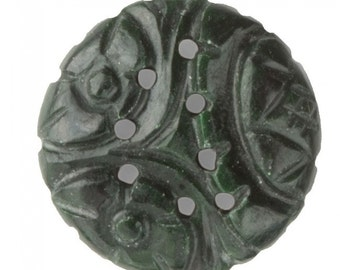 Vintage carved dark green nephrite jade flatback cabochon. Package of 1. b4-jad475(e)