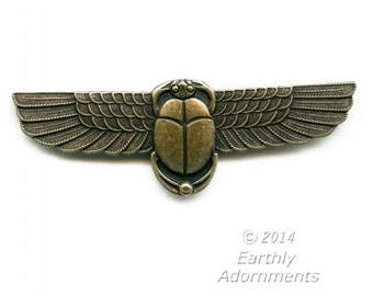 Vintage Egyptian revival oxidized solid brass stamping. 60x15mm Pkg. of 1. b9-2302(e)
