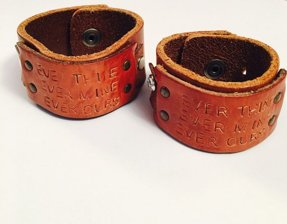 Couples rustic repurposed leather belt love quote stamped cuff Repurposed leather belts