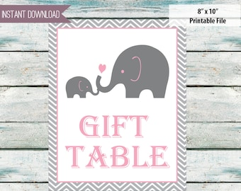 "Gift table pink and gray elephant theme - 8"" x 10"" Instant download"