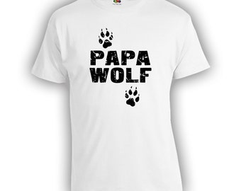 Papa Wolf Fathers Day Gift - Distressed Design Dad Shirt Step Dad Step Father Mens Clothes Birthday Shirt TShirts Shirts New Dad CT-332