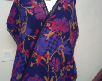 Scarf mohair, acrylic and fabric lace printed