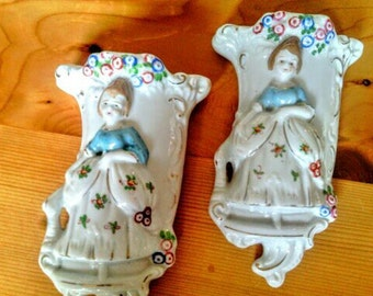 Vintage Wall Pockets with Ladies