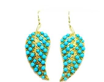 Leaf earrings with  sleeping beauty turquoise in vermeil