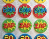 12 Pow Zap Boom Comic Book Style Cupcake Toppers - Super Hero - Birthday - edible - Fondant