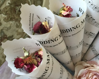 "12 Wedding Toss Cones, Paper Cones, ""Here Comes The Bride"", ""Recessional"" sheet music, Renewing Vows, Scalloped Edge,  8"""