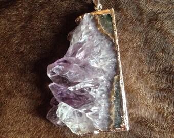 Silver amethyst slice necklace