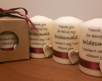 Bridesmaid candle - set of 4 candles individually packed in the kraft box