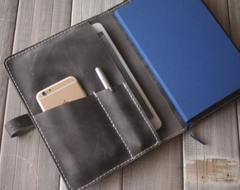 Personalized iPad Air 2 Case Sleeve / EXtra Large Moleskine notebooks covers / Pen Sleeve - Rustic Gray leather All in One Organizer