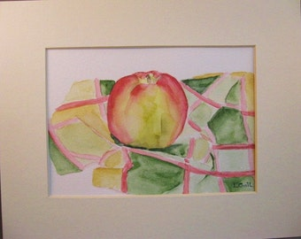 Apple on patterned cloth abstract original watercolor painting matted Kitchen Art