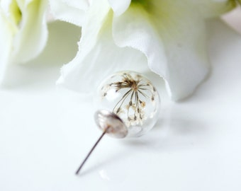 Orb / earring / white / Natural Dried Flower, Pressed Flowers, Real Flower Earring, Real Flower Jewelry, Gift for her, Terrarium Jewelry