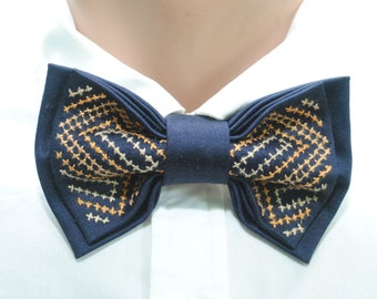 father day gift embroidered men's bow tie navy blue bowtie brown neck tie wedding nautical tie groomsman maritime seaside wedding page boys