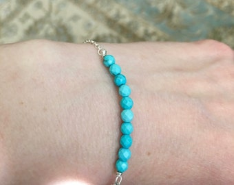 Dainty Faceted Turquoise Bar Bracelet, Turquoise Bar Bracelet with Sterling Silver Chain, Chain Bracelets, Delicate Jewelry, Gifts for Her