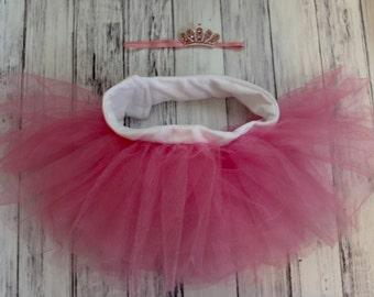 Pink Newborn/Infant Baby Tulle Tutu and Princess Headband Set