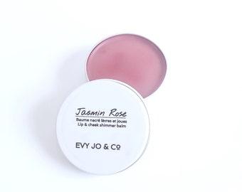Lip & Cheek Shimmer - (Jasmin Rose) Tinted Lip Balm, Natural Organic Lip Balm, Lip Tint, Lip Stain, Lip Butter, Lip and Cheek Stain
