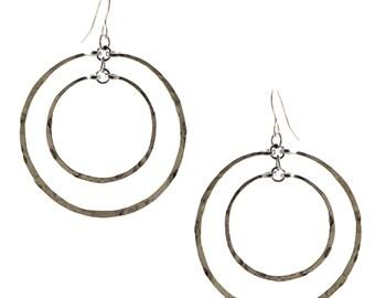 Hammered hoops, Small Hoops, silver hoops, Hammered Earrings, Double hoops, Small hoops, Simple earrings, everyday earrings, hammered hoop