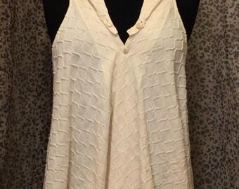 Cream Color Cotton Jersey Vest, Detachable Hood- Petite or Regular Size S