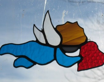 Stained Glass Cupid/Handcrafted/Sun Catcher