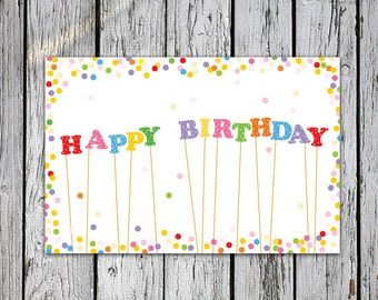 """Happy Birthday card letters confetti print 6x4"""" Instant download greeting card happy birthday star gift"""