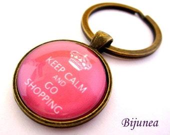 Keep calm and go shopping keychain - Keep calm keychain - Pink keep calm keychain k128