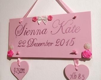 Birth plaque, baby birth sampler, birth details plaque, nursery decor, door hanger